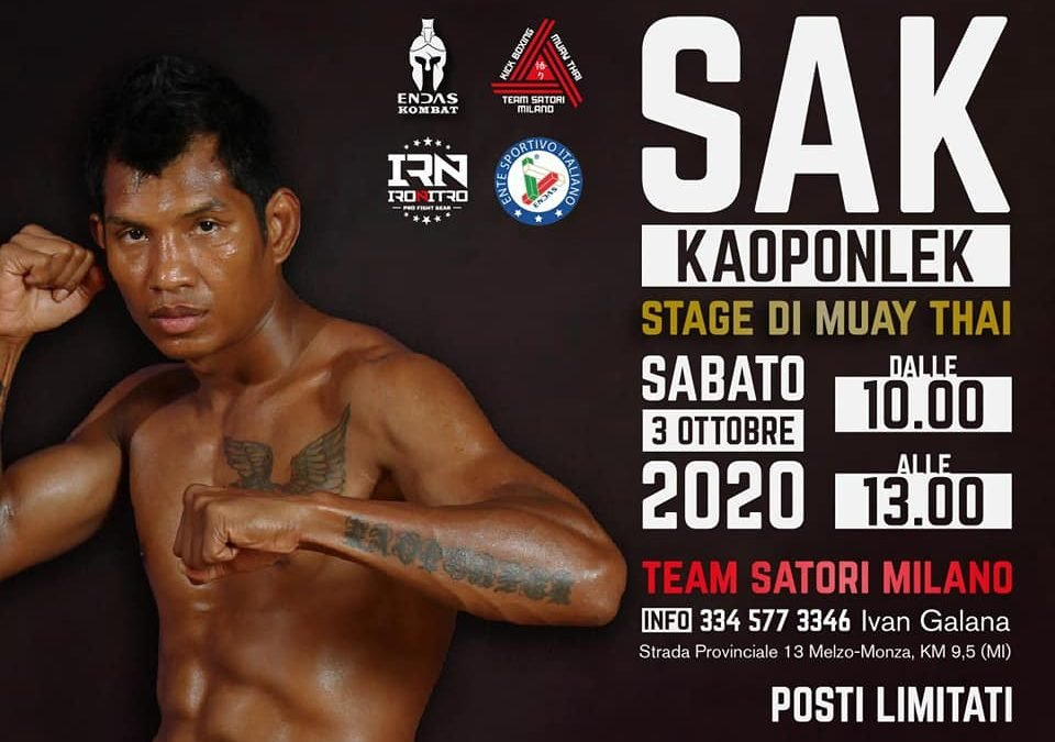Muay Thai: stage con Sak Kaoponlek 3 ottobre